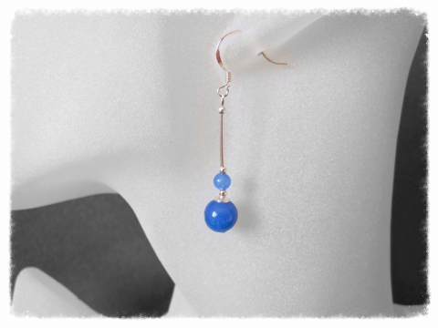 Blue Chalcedony Duo & Sterling Silver Earrings